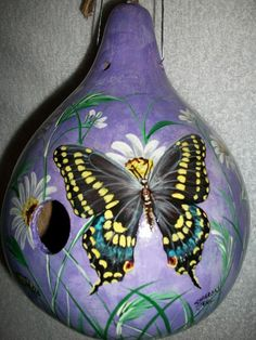 MADE TO ORDER  Butterfly Painted Gourd Birdhouse Black Swallowtail and Daisies