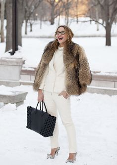 SHOP THE LOOK:    NYFW live: Winter Whites  For my 2nd day of NYFW outfitting I decided to wear winter whites, enter thus this pretty preppy white 2 piece that I combined with a luxurious and warm fur jacket.
