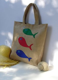 Fish  summer Jute Tote bag  appliqued with three  fish by Apopsis