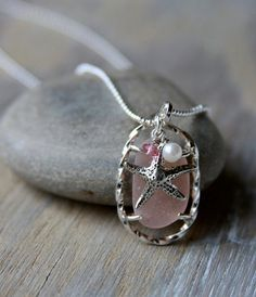 Pink Sea Glass Pendant with Starfish Charm and by MermaidCharms, $55.00
