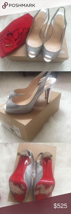 Christian Louboutin Prive 100 glitter heels Prive 100 glitter heels from Christian Louboutin. Purchased from Neiman Marcus for my wedding. 100% authentic (I can search for receipt because I do have it if needed). Comes with box, dust bag, and extra heel taps. Only worn twice and are in great condition! Minor scuffs on toe area and heel as pictured and are priced accordingly. 4 inch heel with 3/4 in platform. No trades. Christian Louboutin Shoes Heels