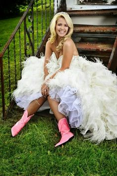 Pink boots and a wedding dress.