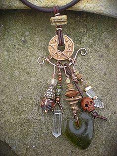 Lucky Charm (close-up) (Maggie Zee) Tags: titlefx Tribal Jewelry, Wire Jewelry, Boho Jewelry, Jewelry Crafts, Jewelry Art, Beaded Jewelry, Jewelry Necklaces, Jewelry Design, Punk Jewelry