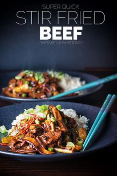 Beef Stir-Fry with Shiitake Mushrooms #beefstripsrecipes This Beef Stir Fry with Shiitake Mushrooms recipe is quick and simple to make. Who needs to wait for the delivery guy when this is quicker, cheaper and tastes glorious! #beefstirfry #quickbeefrecipe  #30minutemeals