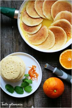Beghrir. Maroccan pancakes with orange and honey.