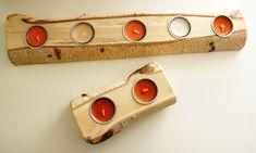 flache Kerzenhalter aus echtem Birkenholz Cigar Cutter, Candle Holders, Hang In There, Handmade, Dekoration
