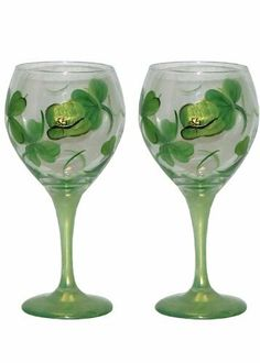 ArtisanStreet's Shamrock Balloon Wine Glasses. Set of 2. Hand Painted, Signed by Artisan. by ArtisanStreet. $50.00. Make your St. Patrick's Day celebration special with these special glasses. Set of 2 balloon wine glasses; 8.5 inches tall, hold 18 oz.. Features green & gold shamrocks accented by leprechaun's hat for St. Paddy's Day. Individually hand painted & made to order & signed by artisan. Wash with mild soap & water. Set of 2. Shamrock balloon wine glass...