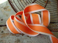 Orange and Natural Ticking Stripe Ribbon