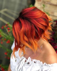 Hair color at sunset Paul Mitchell Pop. Vivid Hair Color, Bright Hair Colors, Hair Dye Colors, Ombre Hair Color, Cool Hair Color, Fire Ombre Hair, Bright Red Hair, Color Red, Cheveux Oranges