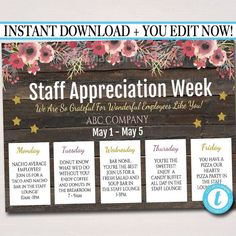 gifts for employees from boss Staff Appreciation Week Itinerary Poster - Appreciation Week Schedule Events, Fundraiser Printables Employee Appreciation Gifts, Volunteer Appreciation, Teacher Appreciation Week, Volunteer Gifts, Employee Gifts, Gifts For Employees, Employee Thank You, Volunteer Ideas, Indira Gandhi