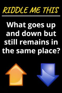 Solve me this: What goes up and down but still remains in the same place?? Tricky Riddles With Answers, Still Remains, Best Riddle, Train Your Brain, Brain Teasers, English Words, Clever, Lettering, Education