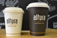 Our new 100% compostable takeaway cup, With new logo