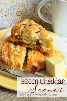 Bacon Cheddar Scones This classic scone gets a savory twist with crumbled bacon and cheddar cheese - the perfect breakfast on the go! If you've never tried making scones before, you need to - pronto! It's so easy. Breakfast Scones, Breakfast On The Go, Savory Breakfast, Perfect Breakfast, Breakfast Recipes, Scone Recipes, Dessert Recipes, Morning Breakfast, Breakfast Ideas