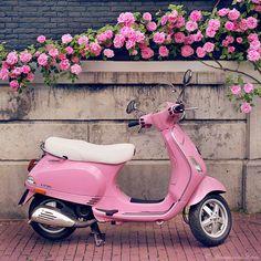 pink vespa! How cute! #pinkvespa