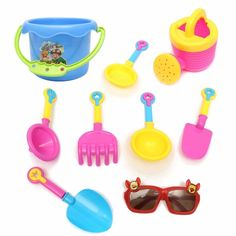 9pcs Kids Seaside Excavating Tools Beach Sand Play Water Toys Enclosed Spade Shovel Sunglasses Outdoor Fun Hourglass Paddle Set