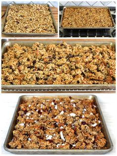 Homemade Chunky Granola I took away the fruit and added extra nuts, so good! Granola Cookies, Granola Cereal, Granola Bites, Best Granola, Homemade Granola Bars, Chunky Granola Recipe, Low Carb Granola Recipe With Oats, Honey Nut Granola Recipe, Aperitivos Vegan
