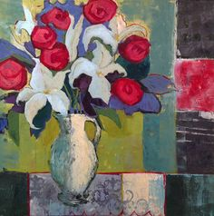 "Daily Painters Abstract Gallery: Contemporary Abstract Still Life Art Painting ""LILIES AND RED ROSES"" by Santa Fe Artist Annie O'Brien Gonzales"