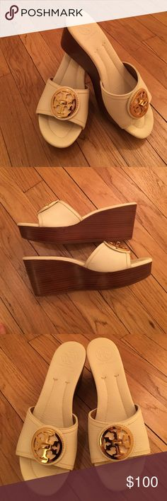 Tory Burch White Leather Wedge Sandals Sz 9 Excellent condition. Very minimal wear. Tory Burch Shoes Sandals