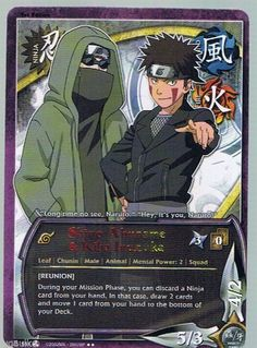 N-551 SHINO ABURAME & KIBA INUZUKA Rainbow Letters Rare Naruto Card 1st edition