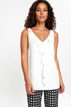 Ivory Ruffle Camisole Top #WallisEscapes