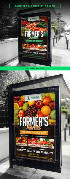 Farmer's Market Commerce B1 Poster — Photoshop PSD #meat shop #fruit market • Available here → https://graphicriver.net/item/farmers-market-commerce-b1-poster/11215174?ref=pxcr