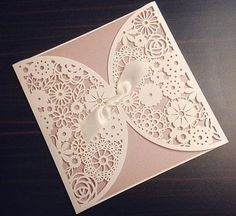 Lace Paper Laser Cut And Ribbon Wedding Invitation In Pink And White From  Etsy.