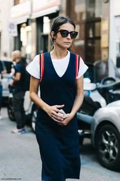Striped edging is the perfect 90s addition to cool up a basic staple dress shape.