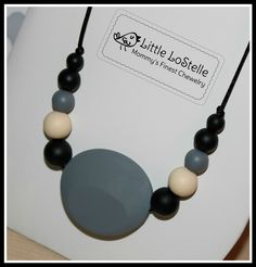 Little LoStelle Silicone Teether Teething Necklace Mint Green Gray 2 Bracelets