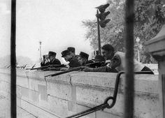 AUG 24 1944 Paris in turmoil as liberation approaches Gendarmes and a French resistance fighter keep an eye on the Seine during the Battle for Paris(AFP) Liberation Of Paris, French Resistance, Merchant Marine, 24. August, Old Paris, Paris Shows, Wedding With Kids, D Day, World War Two