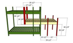 This step by step diy article is about triple bunk bed plans. Building a bunk bed is a cheap solution for small rooms that don't provide enough space for fitting regular beds. Cool Bunk Beds, Bunk Beds With Stairs, Kids Bunk Beds, Triple Bunk Beds Plans, Bunk Bed Plans, Stair Plan, Ideas Habitaciones, Bunk Bed Designs, Outdoor Kitchen Design