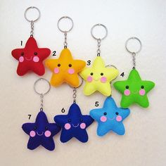 Items similar to Wool felt star keychain on Etsy Tiny star keychain rainbow stars wool by UnBonDiaHandmade Felt Diy, Felt Crafts, Diy And Crafts, Crafts For Kids, Arts And Crafts, Craft Projects, Sewing Projects, Projects To Try, Felt Keychain