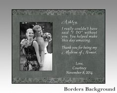 Matron of honor personalized wedding gift, maid of honor personalized picture frame