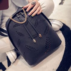 Wow~ Awesome Feather Pattern Backpack Gold Chain School Bag! It only $33.99 at www.AtWish.com! I like it so much<3<3!