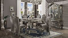 Acme Furniture Versailles Counter Height Dining Set in Antique Platinum Set Includes: 1 Counter Height Table, 6 Counter Height Chair D Dining Room Sets, Elegant Dining Room, Elegant Home Decor, Elegant Homes, Empire Furniture, Acme Furniture, Dining Room Furniture, Antique Furniture, Walnut Furniture