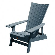 Highwood Manhattan Beach Nantucket Blue Folding and Reclining Recycled Plastic Adirondack Chair with Wine Glass Holder - The Home Depot Recycled Plastic Adirondack Chairs, Cheap Adirondack Chairs, Outdoor Chairs, Dining Chairs, Retro Office Chair, Home Office Chairs, Pool Lounge, Chair And A Half, Wine Glass Holder