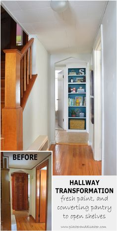 Hallway transformation - converting pantry to open shelves -- Plaster & Disaster