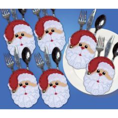 Design Works Silverware Pocket Felt Applique Kit Santa Faces, , hi-res