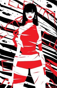 Nuno Plati Tears it Up With Elektra, Green Lantern, Iron First and More [Art]… Frank Miller, Marvel Comics Art, Marvel Heroes, Comic Books Art, Comic Art, Book Art, Daredevil Elektra, Green Lantern Comics, Elektra Natchios