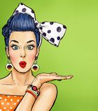 Pop Art  Surprised Woman Pointing Finger Showing Copy Space.Party Invitation. Birthday Greeting Card.Hollywood Movie Star. - Download From Over 55 Million High Quality Stock Photos, Images, Vectors. Sign up for FREE today. Image: 74169611