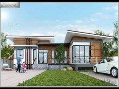 If having a multiple story house is not for you, you have a choice and can opt for a single story house. This single story house is big enough to still provide relaxation and space for the family. Modern Bungalow House, Cottage Style House Plans, Bungalow House Plans, Loft House, One Storey House, Two Story House Plans, Thai House, Model House Plan, Home Modern