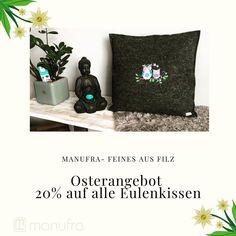 🐰 Osterangebot 🐰  Ostern steht vor der Tür.  Braucht ihr noch ein Geschenk? Wie wäre es mit einem Eulenkissen aus Wollfilz von uns.  Aktuell spart ihr 20% auf alle Eulenkissen.  #ostern #manufra #wollfilz #geschenkideen #ostergeschenk #ökologisch #nachhaltigkeit #eulen #kissen #osterdekoration #geschenke #noplastic #filz #filzmachtglücklich #handmade #bestickt #dekoration #wohlfühlen Throw Pillows, Instagram, Owl Cushion, Sustainability, Felting, Easter Activities, Handarbeit, Toss Pillows, Decorative Pillows