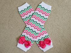 Girls Pink Green Chevron Leg Warmers with by PickleBeanBoutique,
