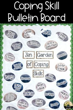 Coping skill bulletin board for your office or classroom! Counselor Bulletin Boards, Health Bulletin Boards, Nurse Bulletin Board, Office Bulletin Boards, Classroom Board, Social Work Offices, School Social Work, School Counseling Office, School Office