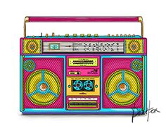 Retro Colorful Boombox $7