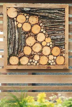 Jazz Up the Outdoors with DIY Bug Hotel Fence Art Liven up a fence with bug hotel art The post Jazz Up the Outdoors with DIY Bug Hotel Fence Art appeared first on Wood Ideas. Bug Hotel, Insect Hotel, Four Seasons Art, Wood Slice Crafts, Fence Art, Diy Fence, Fence Garden, Deco Nature, Diy Bird Feeder