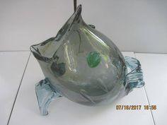 Glass Methodical Art Glass Vase Gray White Satin Blue