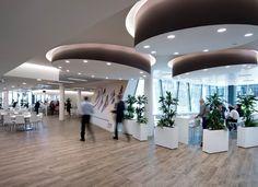 Nestlè Headquarters Milan Office Design Creative Work Environment that encourages collaboration and inspirational work! Milan, Interior Ceiling Design, Mall Design, Modern Bar Stools, Environmental Design, Italian Style, Chair Design, Furniture Design, Office Interiors