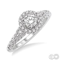 5/8 Ctw Diamond Engagement Ring with 3/8 Ct Round Cut Center Stone in 14K White Gold