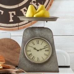 If aged wood, woodland motifs and distressed metal feel like home to you, see what pieces speak to you in our attractive selection of rustic decor. Antique Farmhouse, Farmhouse Chic, Kitchen Clocks, Vintage Industrial, Unique Vintage, Farmhouse Style Decorating, Vintage Kitchen, Home Accessories, Scale