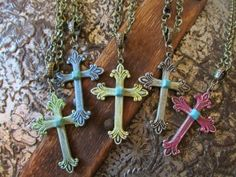 Cross Necklaces in your choice of colors Available at Buckaroo Bay Cowgirl Jewelry & Western Accessories BuckarooBay.com